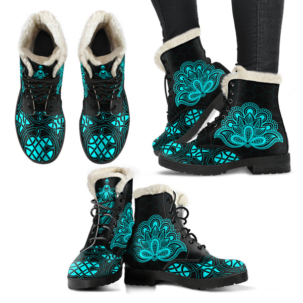 Classic Pattern SERIES III Faux Fur Leather Boots