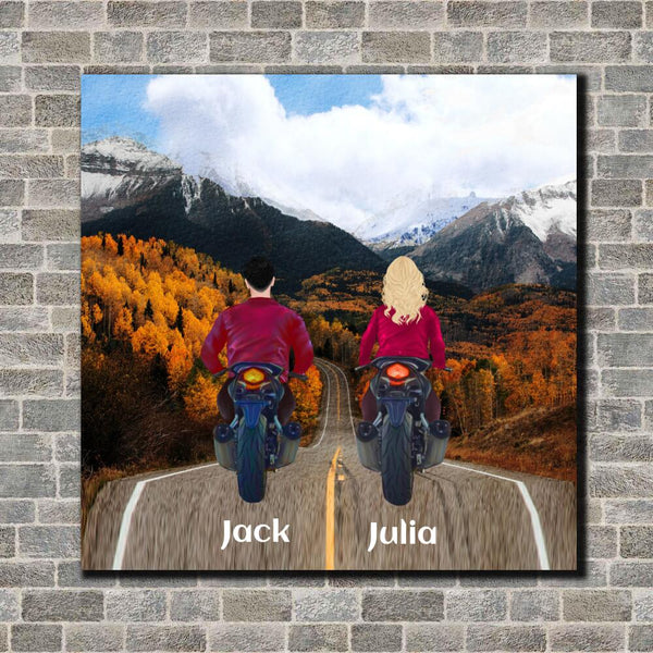 New Biker Couple Canvas