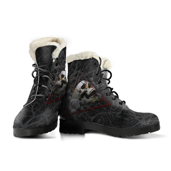 Rose Skull Faux Fur Leather Boots