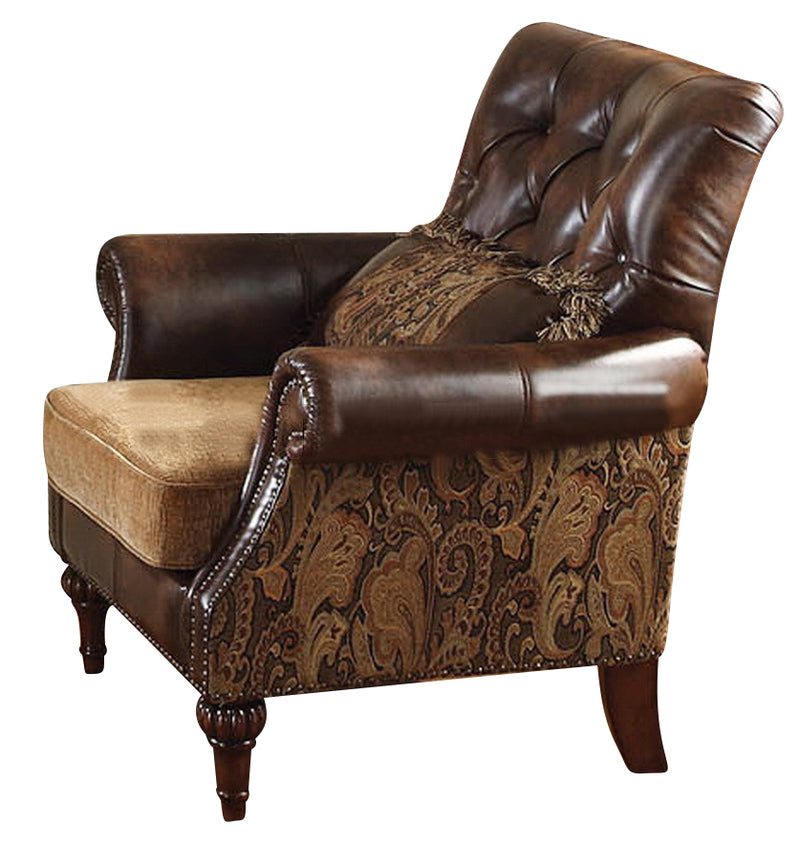 Acme Dreena Traditional Bonded Leather and Chenille Chair 05497 image