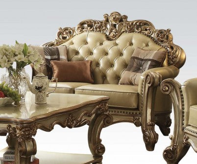 Acme Vendome Loveseat w/ 3 Pillows in Gold Patina 53001 image