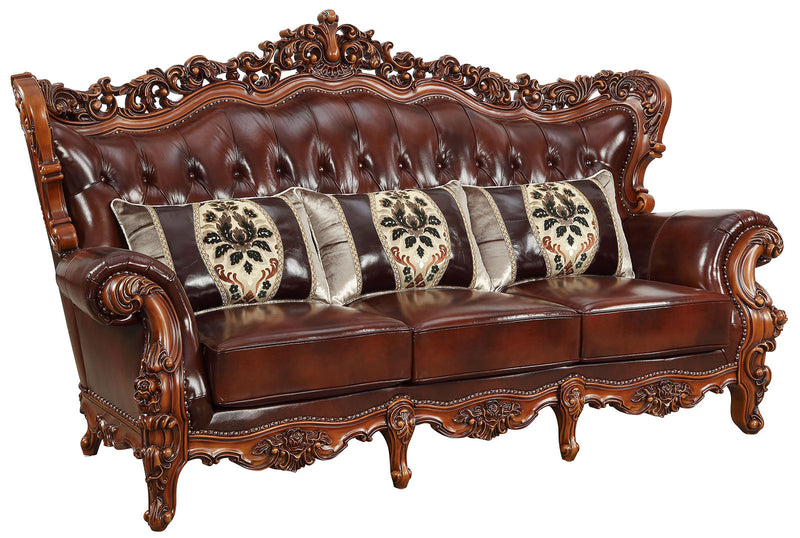 Acme Furniture Eustoma Sofa in Cherry and Walnut 53065 image