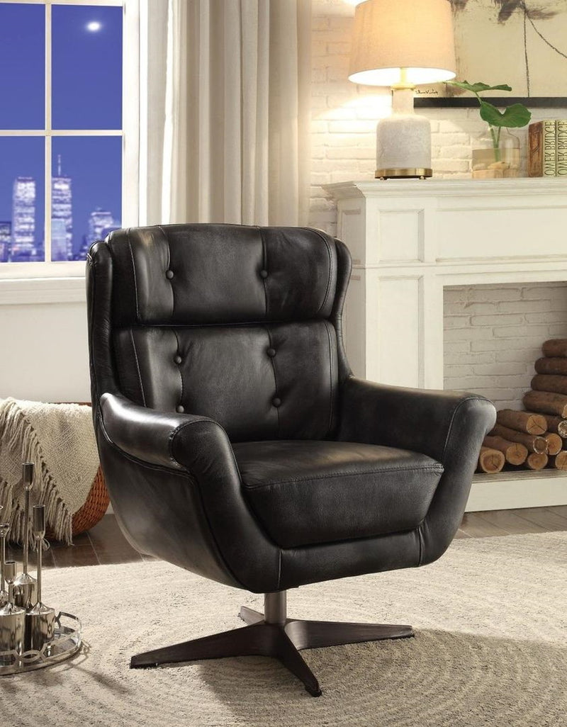 Acme Asotin Accent Chair in Vintage Black 59532 image