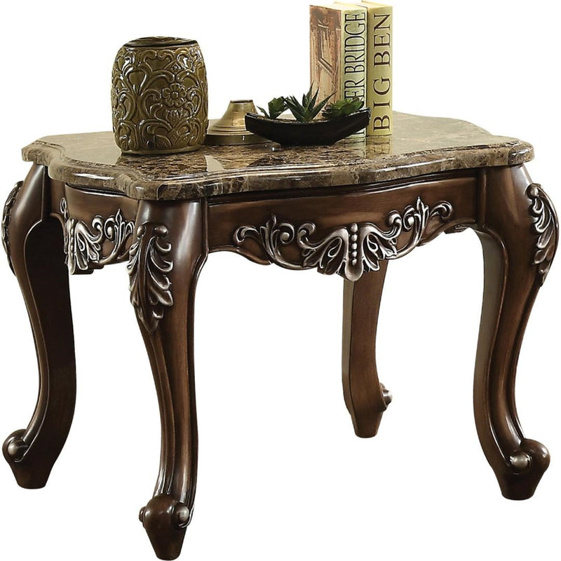 Acme Furniture Latisha End Table in Marble/Antique Oak 82147 image