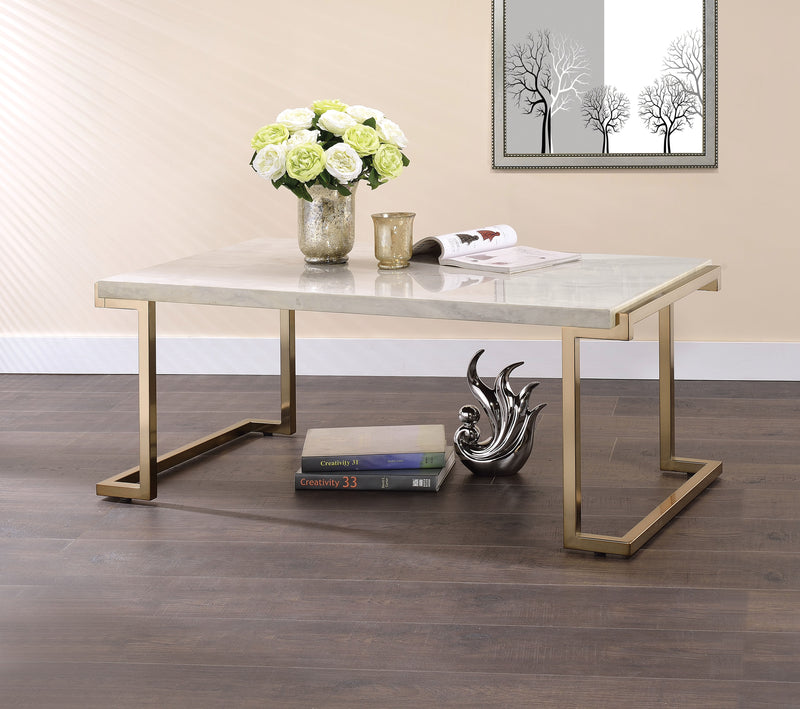 Boice II Faux Marble & Champagne Coffee Table image