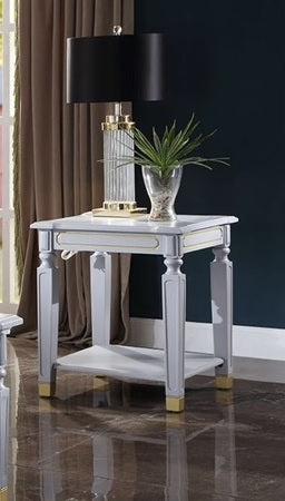 Acme Furniture House Marchese End Table in Pearl Gray 88867 image