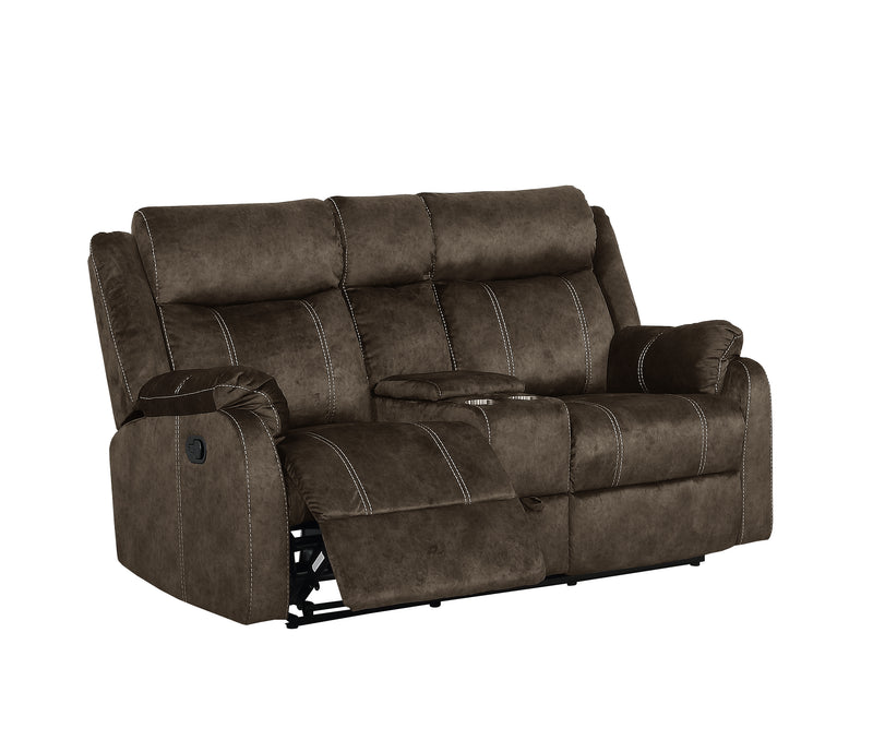 Brown CONSOLE RECLINING LOVESEAT W/DRAWER image