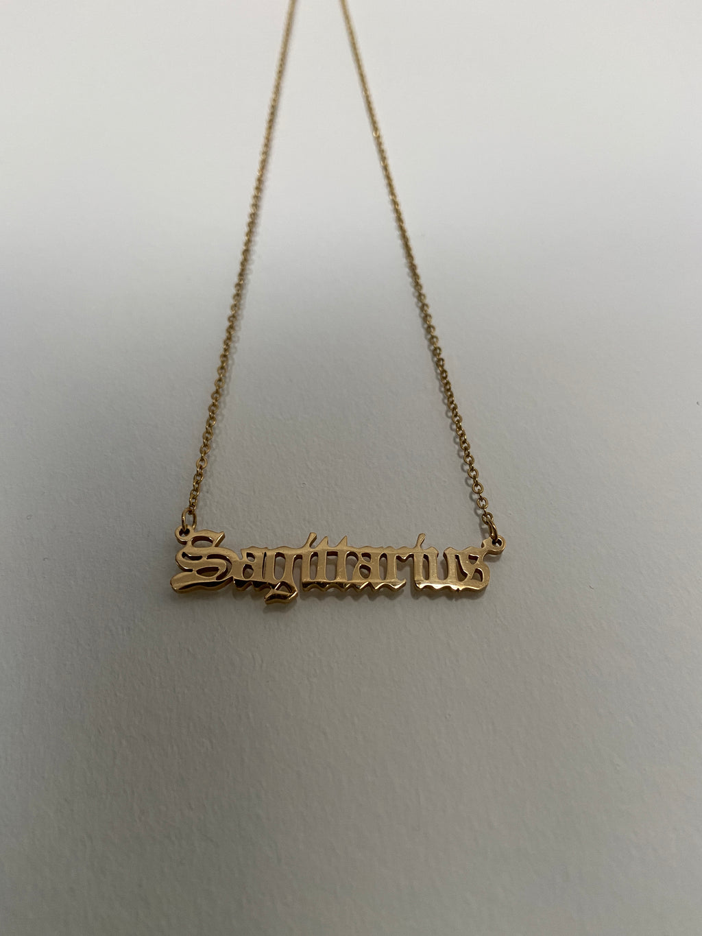 Sagittarius Old English Necklace