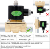 Heschen Brass Electric Solenoid Valve 3/4 Inch Direct Action Water Air Gas Normally Closed 2/2 Way