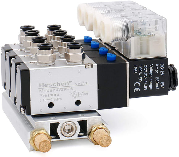Heschen 4 Space Pneumatic Solenoid Valve 4V210-08 PT1/4 5 Way 2 Position Manifold Base Muffler Quick Fittings Set