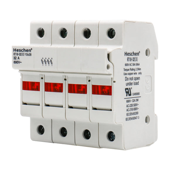 Cylindrical Type Fuse holder 4 pole