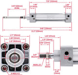 "Heschen Pneumatic Standard Cylinder SC 32 PT1/8 port, 32mm(1 1/4"") Bore, Single Rod Double Action with 2 Fittings"