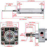 "Heschen Pneumatic Air Cylinder SC 50 Series PT 1/4 Port 50mm(2"") Bore Screwed Piston Rod Dual Action with 2 Fittings"