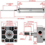 "Heschen Pneumatic Air Cylinder SC 63 Series PT 3/8 Port 63mm(2.5"") Bore Screwed Piston Rod Dual Action with 2 Fittings"
