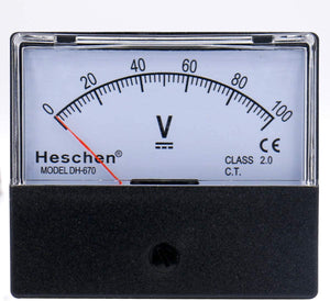 Rectangular Voltmeter Analog Panel Volt Voltage Meter DH 670 DC 0- 100 V