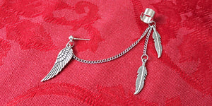 Wing and feathers cuff chain earring impulse notion
