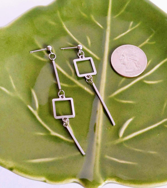 Squares and Bars Geometric Mismatched Earrings Dangle Drop