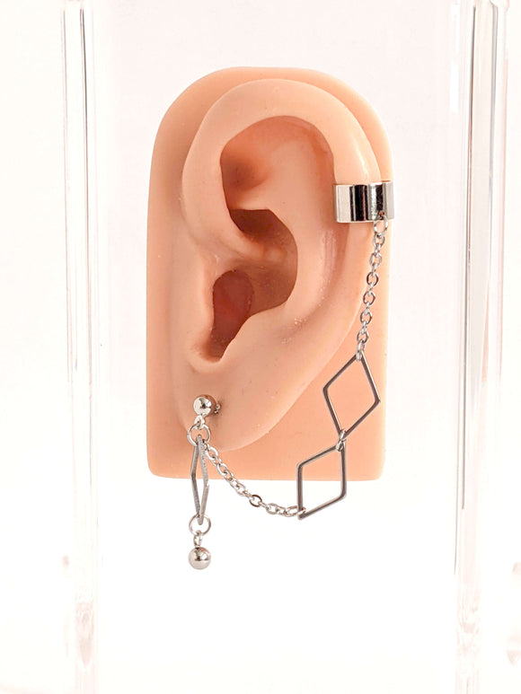 Bevel Diamond Shapes Cuff Chain Earring: Kpop Inspired Jewelry