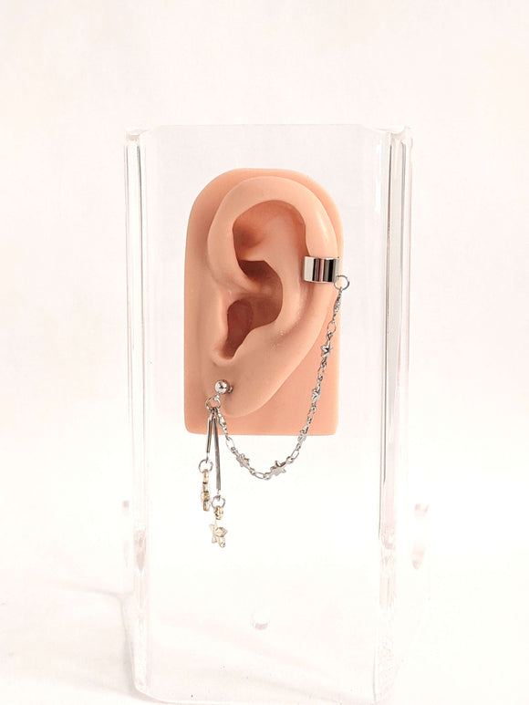 Double Star Cuff Chain Earring: Kpop Inspired Jewelry