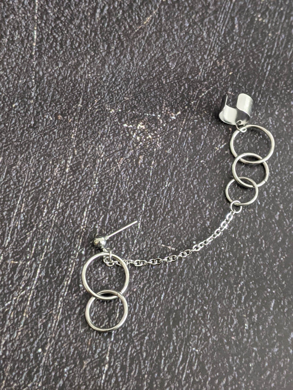 Circles Cuff Chain Earring Hamon: Kpop Inspired Jewelry