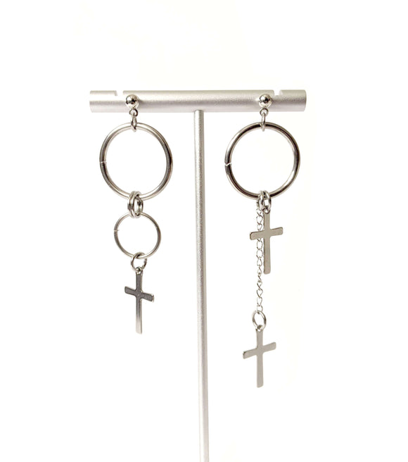 Idalia Mismatched Earrings Cross Circle Dangle Drop UNISEX
