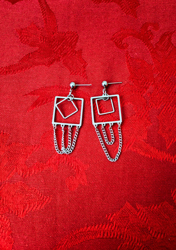 Squares and Chains Geometric Mismatched Earrings Dangle Drop