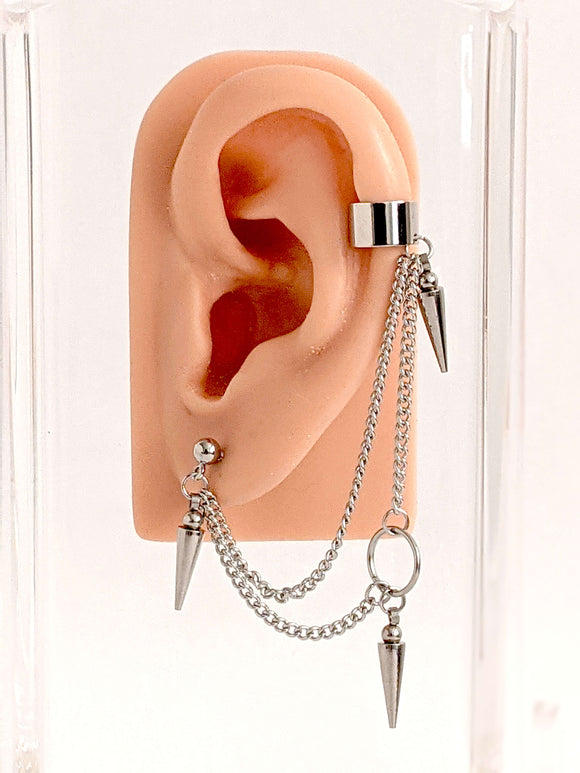 Triple Dart Chain Cuff Earring: Kpop Inspired Jewelry