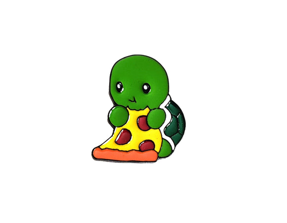 Turtle Eating Pizza Slice Pin
