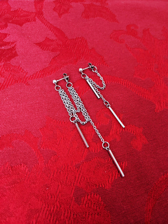 Wake Mismatched Double Bar Earrings Dangle Drop
