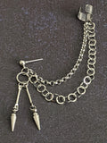 Double Dart Chain Cuff Punk Earring