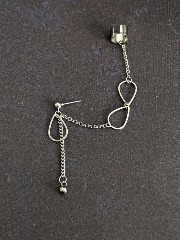 Drops and Chains Cuff Chain Earring: Chain Cuff Unisex Men's Earring