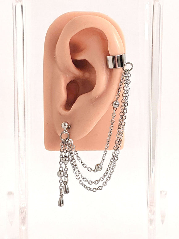 Drops Cuff Chain Earring: Kpop Inpsired Jewelry