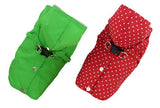 Green or Red Polka Dot EXTRA SMALL Dog Harness Raincoat with Hood and Leash Hole for Toy Breed Dogs: Small Dog Raincoat