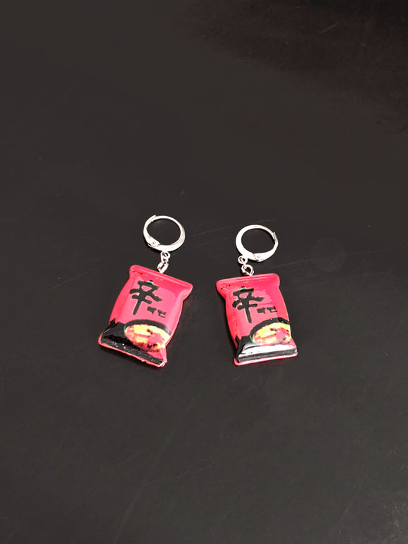 Spicy Ramen Earrings: Nongshim Shin Ramyun Noodles