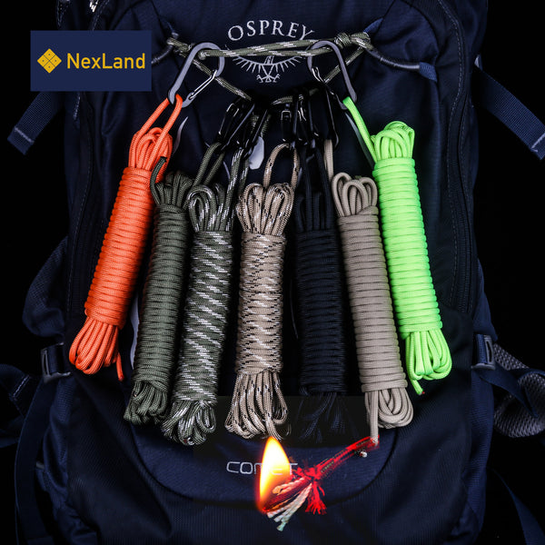 SP1 25FT Fire Paracord Combines Tinder with Small Carabiner Clip