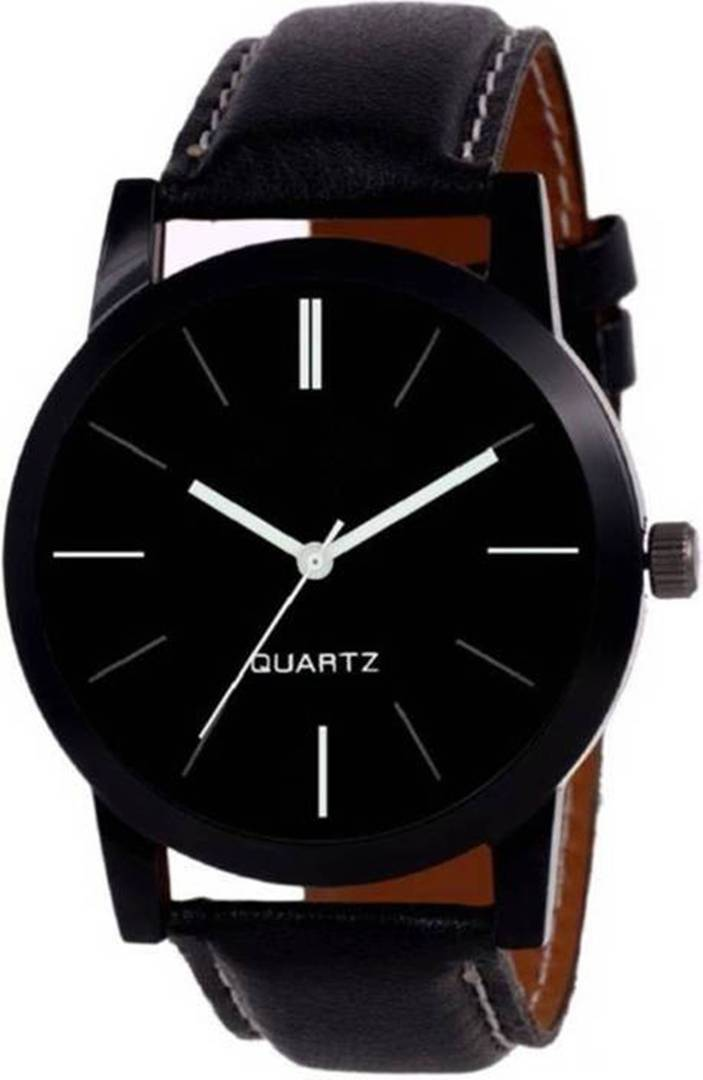 Black Analog Synthetice Leather Trendy Watch