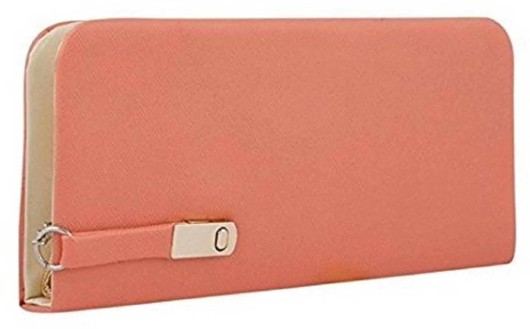 Peach Solid Trendy Clutch