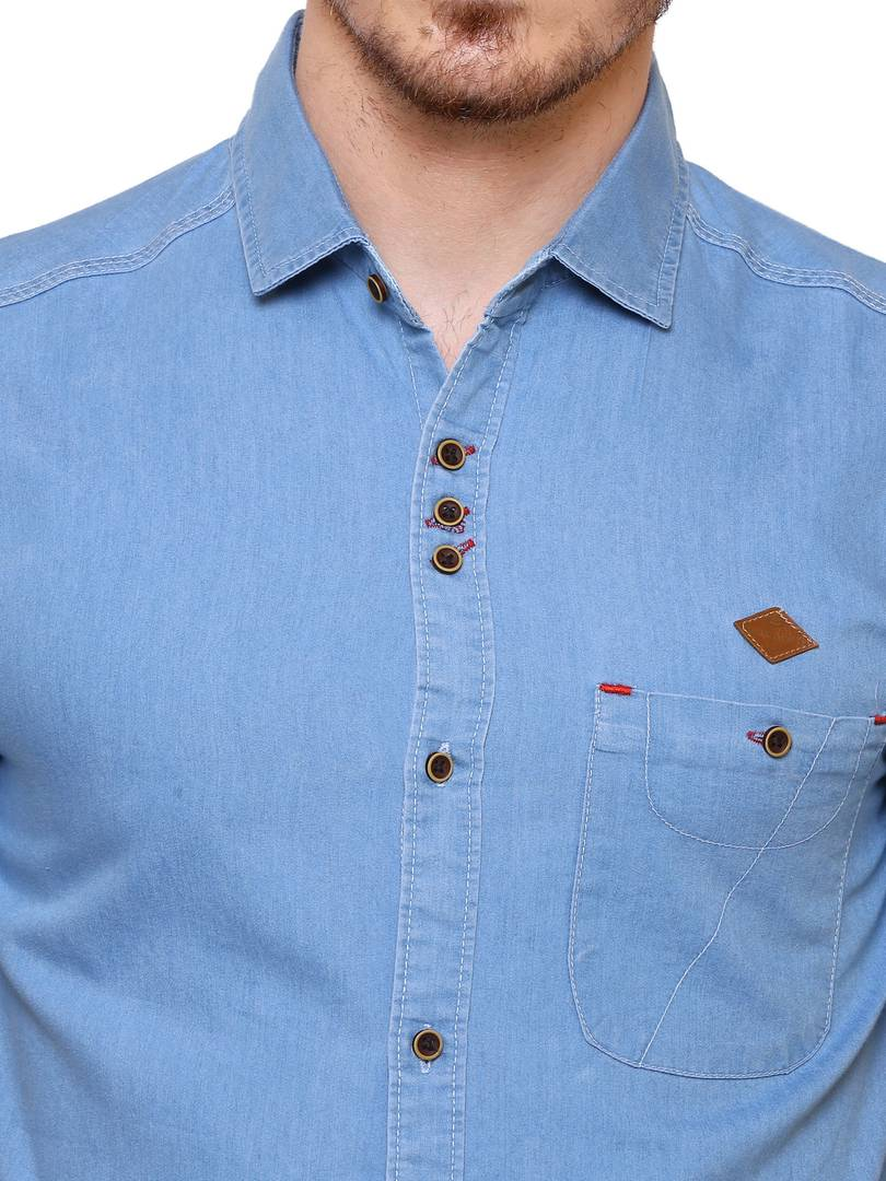 Kuons Avenue Light Blue Denim Cotton Casual Shirt