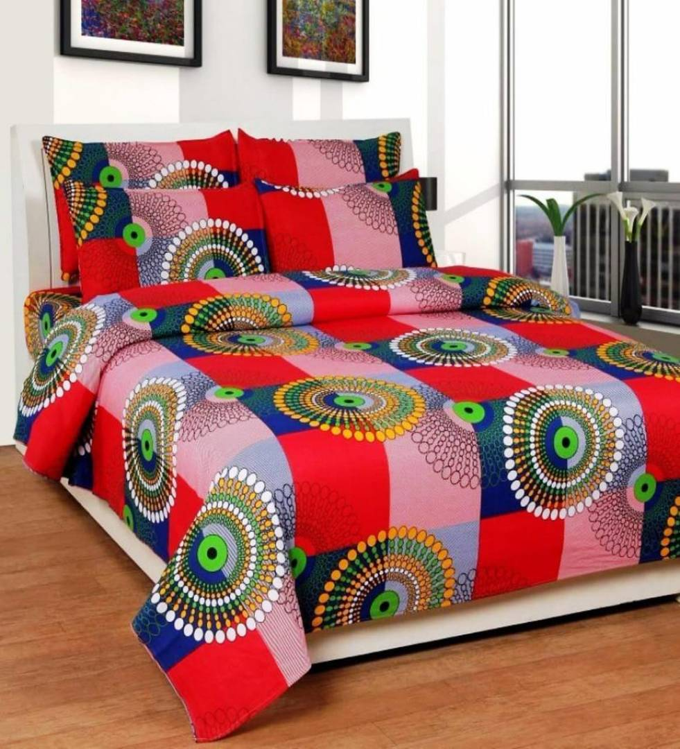 Multicoloured Polycotton Graphic Printed King Size Bedsheet With 2 Pillowcovers