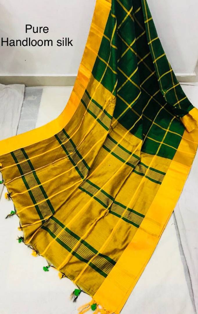 Pure Handloom Cotton Silk Checked Saree