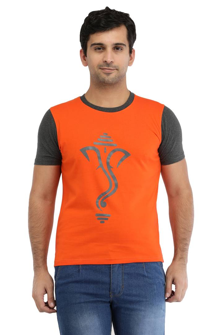 Orange Cotton Ganesh Printed T-ShirtOrange Cotton Ganesh Printed T-Shirt
