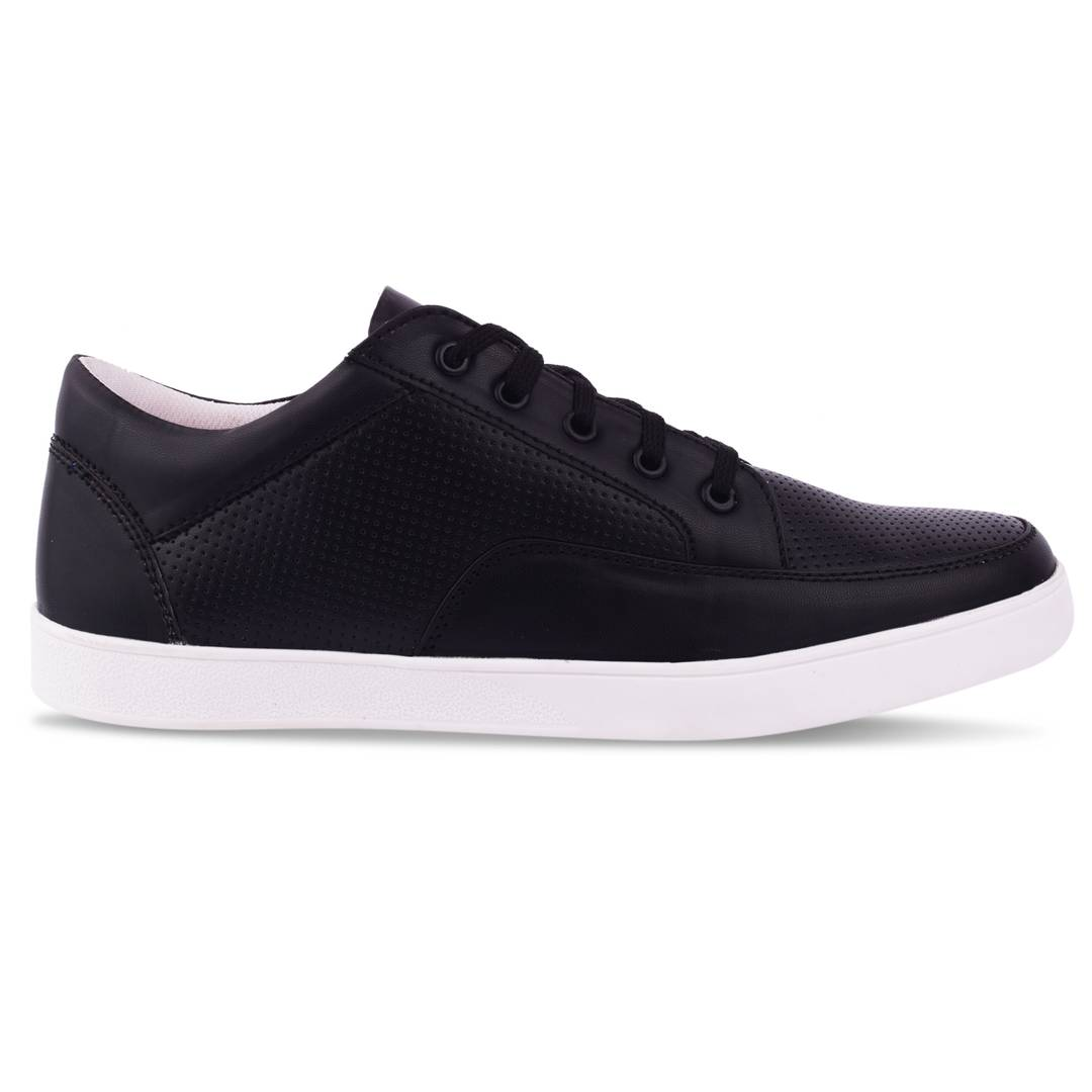 Black Synthetic Leather Casual Shoes