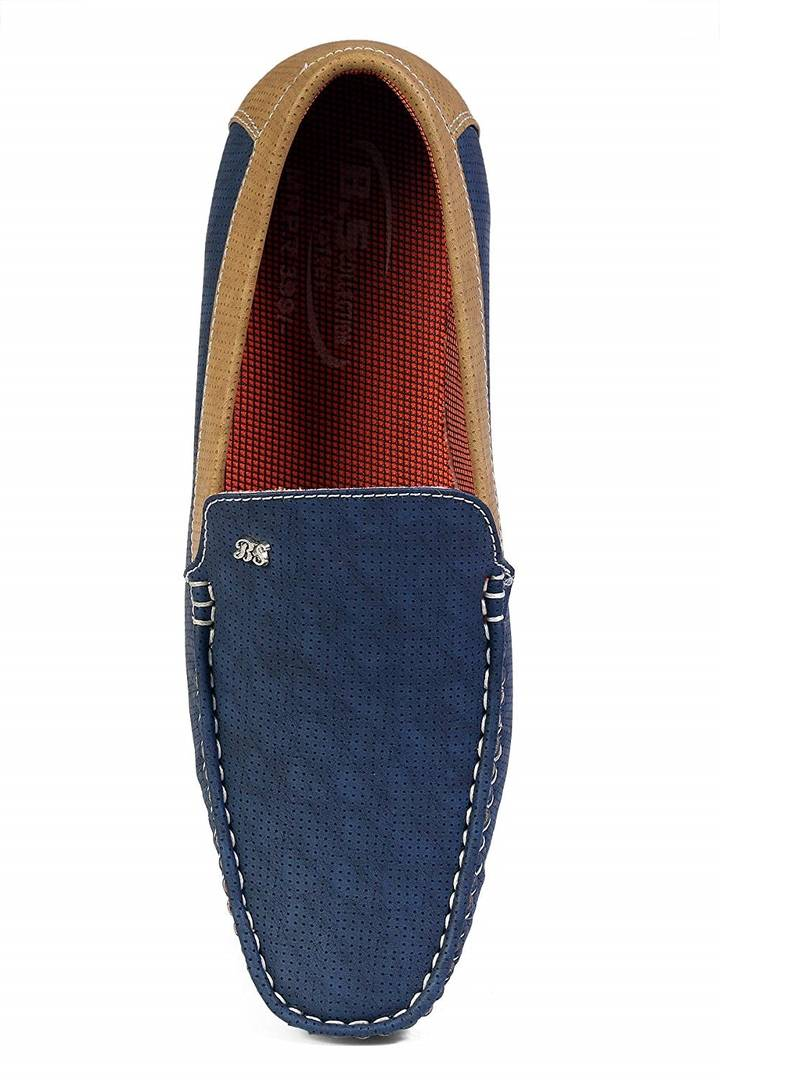 Blue Faux Leather Loafers Shoes for Men's