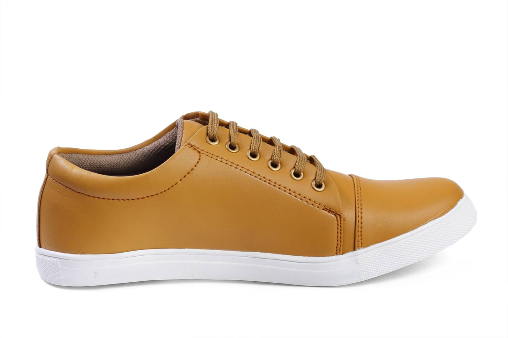 Khaki Synthetic Leather Sneakers Shoes for Men's