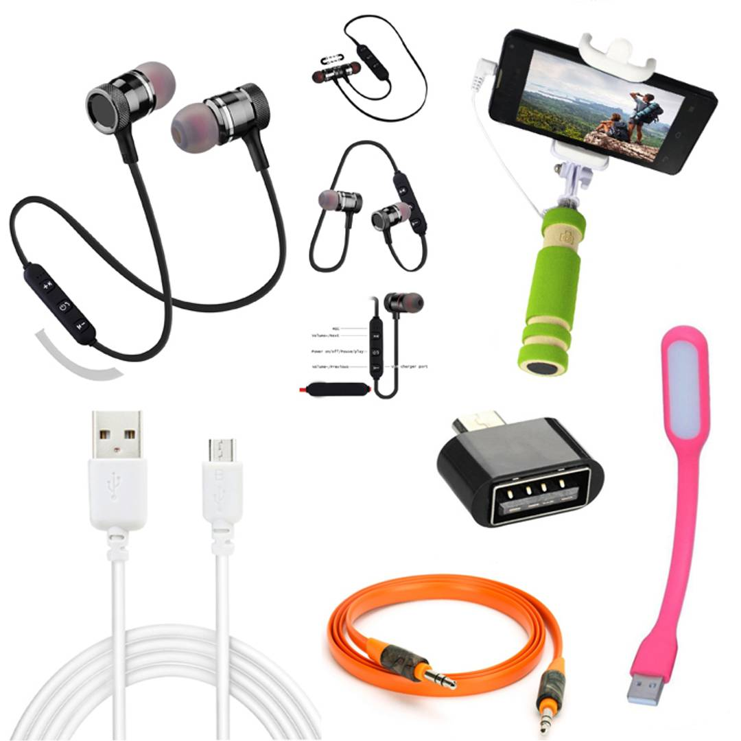 Combo Of Magnetic In-Air Bluetooth Headset With OTG, Aux Cable, USB Light, Data Cable & Selfie Stick