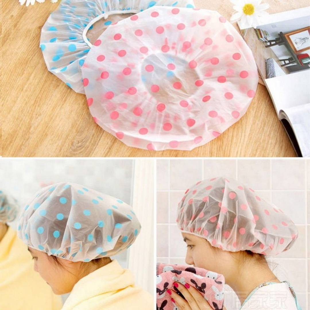 Reusable Waterproof Elastic Shower Cap - Pack Of 4