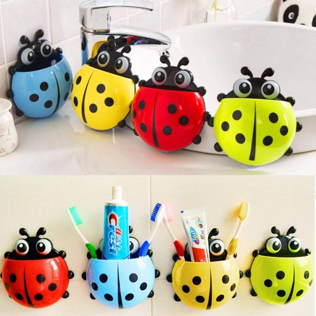 Ladybird Toothpaste Toothbrush Storage Organizer Holder - Pack Of 1