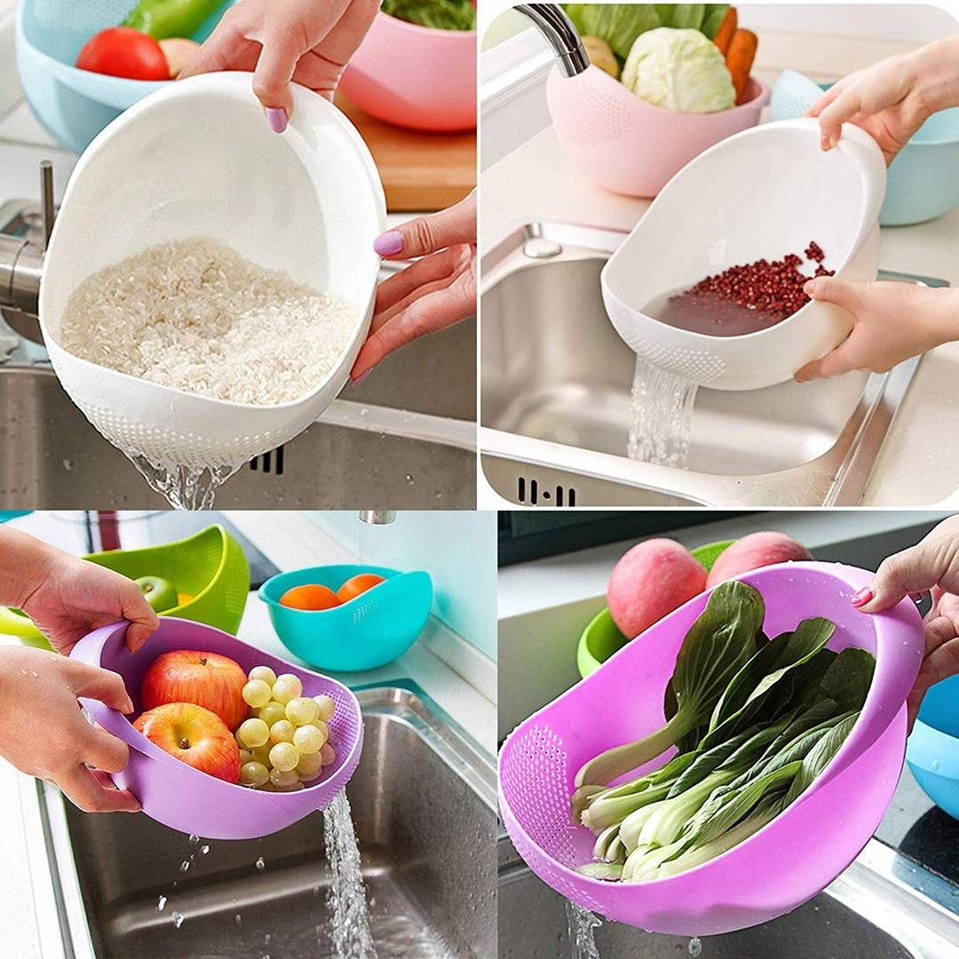 Wash Rice Rinse Fruit Vegetables Basin Stainer & Sieve Bowl Drainer (Assorted) - 1 Piece