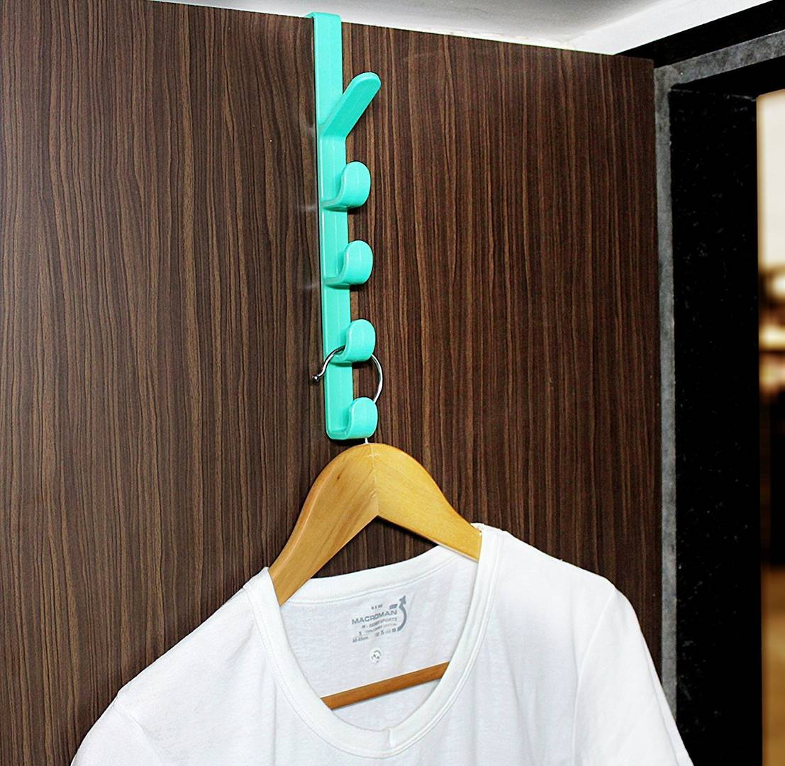 Plastic Over The Door Vertical Clothes Hanger With 5 Hooks - Pack Of 1