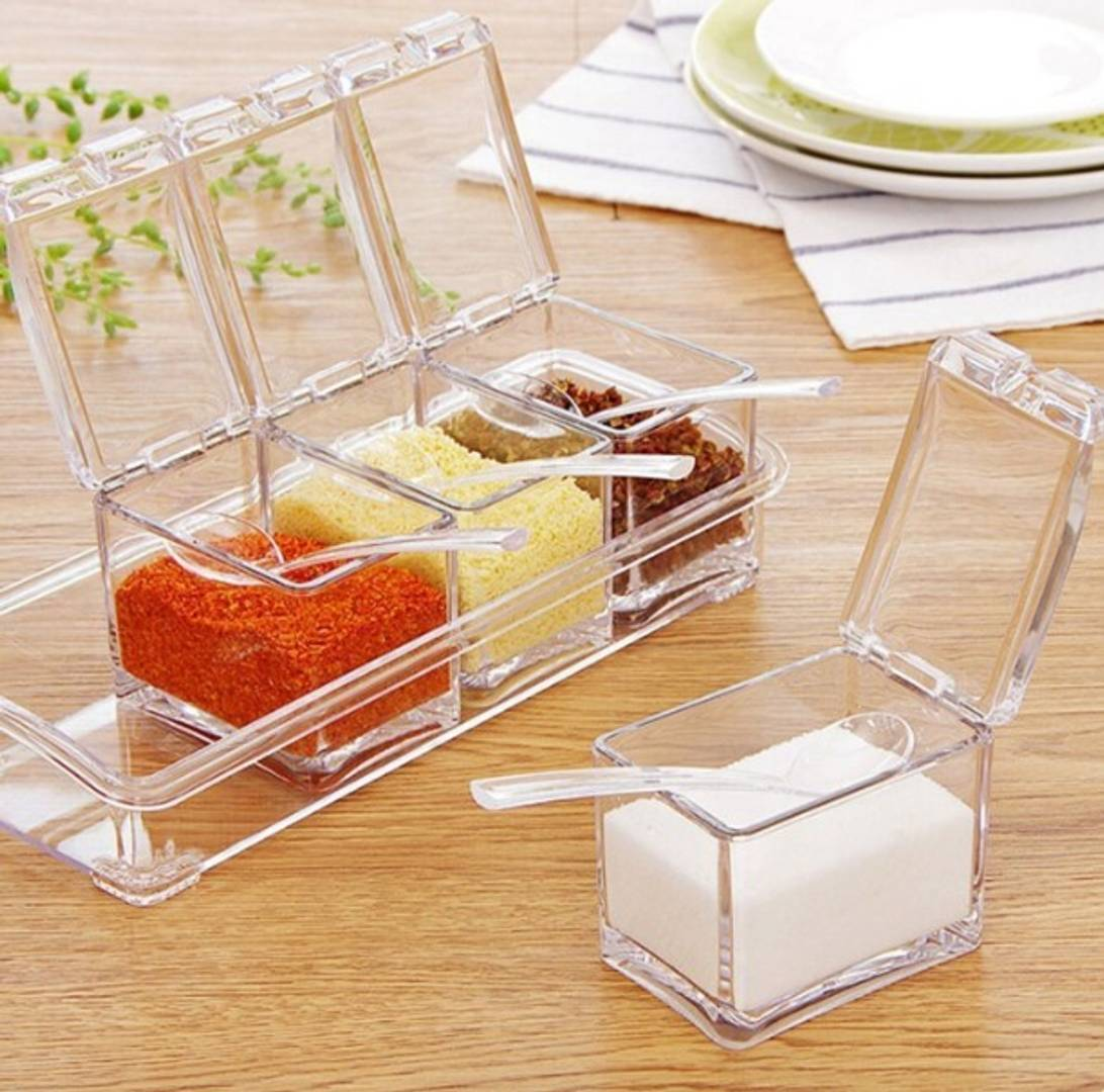 Acrylic Kitchen Storage Containers  4 Box with Spoons